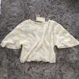 ZARA delicate lace cropped top with pearl detail